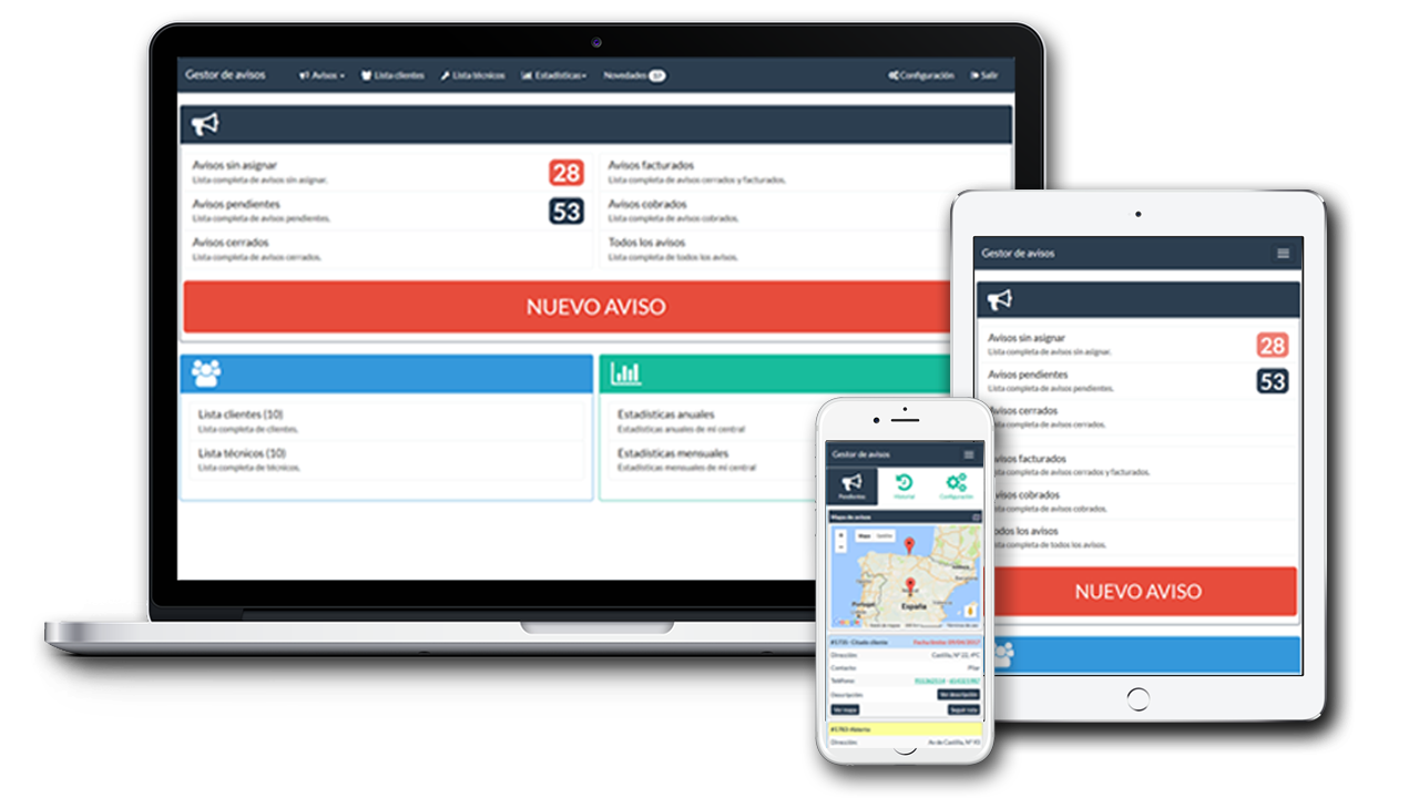diferentes pantallas reponsive, central, tecnico y cliente