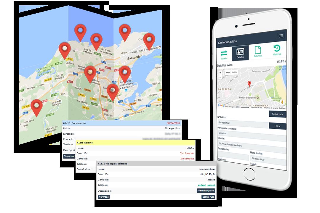 panel de trabajos del empleado en mapa y app movil